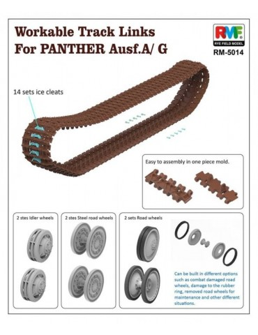 Rye Field Model RM-5014 Workable Track Links for Panther Ausf. A/G 1/35