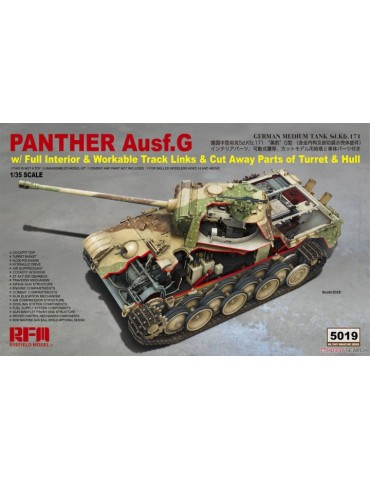 Rye Field Model RM-5019 Panther Ausf.G w/ Full Interior & Workable Track Links & Cut Away Parts of Turret & Hull 1/35