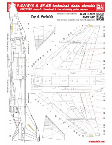 Cut then Add CTA-024 F-4J/N/S & RF-4B Phantom technical data stencils 1/72
