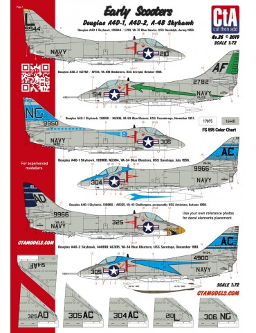 "Cut then Add CTA-026 ""Early Scooters"" (Douglas A4D-1, A4D-2, A-4B Skyhawk) 1/72"