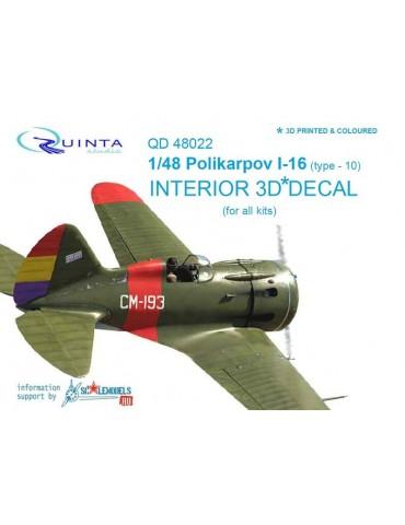 Quinta studio QD48022 3D Декаль интерьера кабины И-16 тип 10 (для любых моделей) 1/48