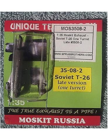 Moskit 35-08-2 Выхлопная труба Т-26 однобашенный(поздний) 1/35
