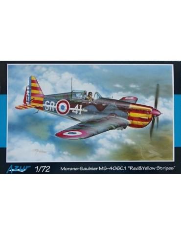 Azur A114 Morane Saulnier MS 406 Red & Yellow Stripes 1/72